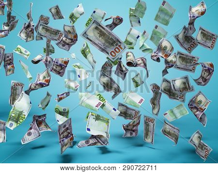 New One Hundred Dollars And One Hundred Euro Banknotes Fall On The Floor 3d Render On Blue Backgroun