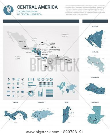 Vector Map Set.  High Detailed 7 Map Of Countries In Central America With Administrative Division An