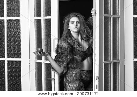 Seduction Art Concept. Woman Seductive Wear Fur And Lingerie. Female Lover Enter Bedroom Doors. Fash