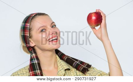Perfect Apples. Health Care And Vitamin Nutrition. Start Apple Diet. Woman Carry Basket With Natural