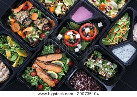 Healthy Food And Diet Concept, Restaurant Dish Delivery. Take Away Of Fitness Meal. Weight Loss Nutr