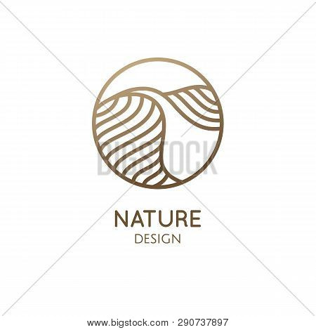 Desert Logo Template. Vector Round Icon Of Water Or Desert Landscape With Barkhans. Abstract Ornamen