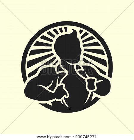 Silhouette Of Hero Man Opening His Shirt Showing A Chest. Superman In Circle With Rays Background Ve