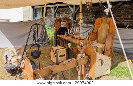 Medieval Camp By A Knight On A Medieval Market.