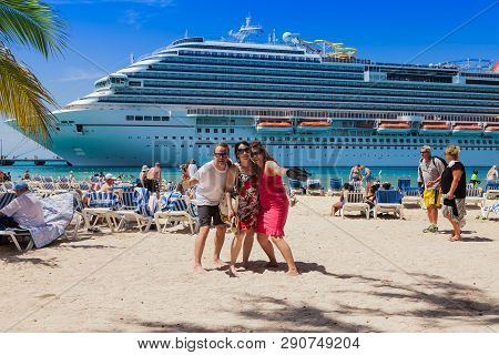Grand Turk, Turk Islands Caribbean-31st March 2014: The Cruise Ship