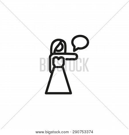 Event Hostess Line Icon. Woman, Promoter, Presenter. Special Event Concept. Vector Illustration Can