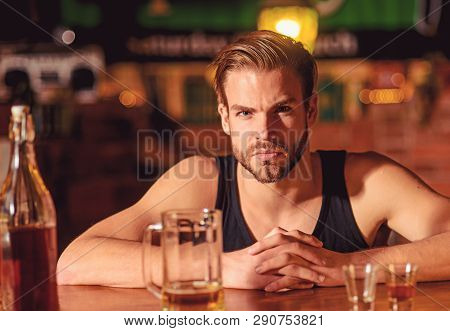 I Like To Go To Pubs. Man Drinker In Pub. Addicting To Alcoholic Drink. Handsome Man Drink Beer At B