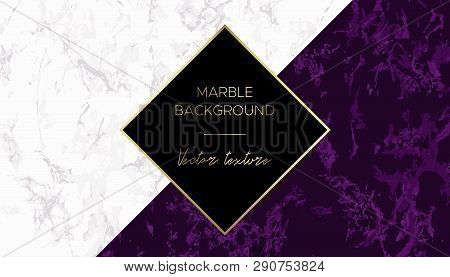 Marble Background. Chic Design Card In Purple And White Colors With Gold. Use For Cover Invitation C