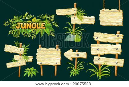 Cartoon Game Panels In Jungle Style On Dark Background. Isolated Wooden Gui Elements With Tropical L