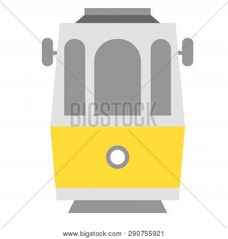 Tramway Flat Illustration On White Background. Travel Recreation And Landmark Series.