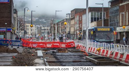Editorial Swansea, Uk - March 21, 2019: The Abandoned Swansea Kingsway Transformation Project After