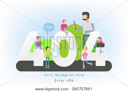 404 Error Page Concept. File Not Found For Webpage. Website Maintenance Error Banner With Cartoon Pe