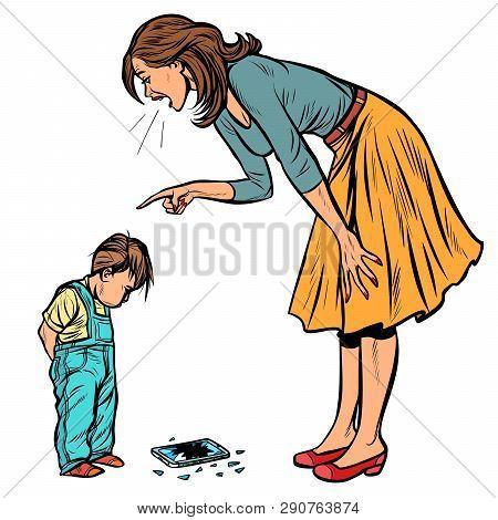 Mother And Guilty Son. Broken Phone Isolate On White Background. Pop Art Retro Vector Illustration V