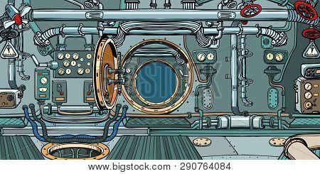 Compartment Of The Spacecraft Or Submarine. Pop Art Retro Vector Illustration Vintage Kitsch