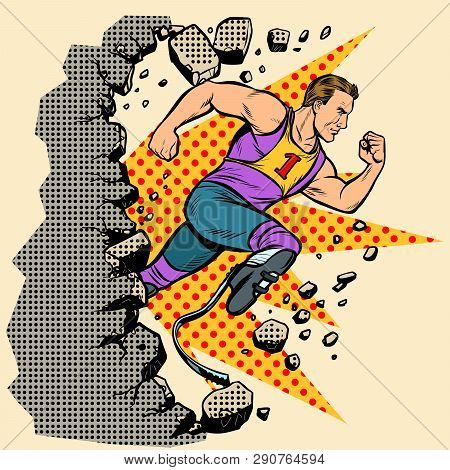 Breaks The Wall Disabled Runner With Leg Prostheses Running Forward. Sports Competition. Pop Art Ret