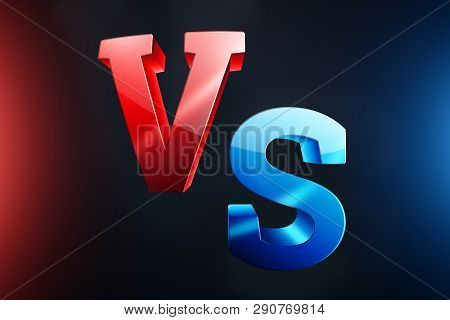 Creative Background, Red-blue Versus Logo, Letters For Sports And Wrestling. Game Concept, Competiti