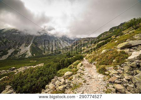 Rocky Mountain Hiking Trail. Mengusovska Valley, High Tatras, Slovakia