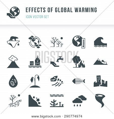 Set Of Global Warming Icons. Natural Disasters Caused By Climate Change. Effects Of Global Warming I