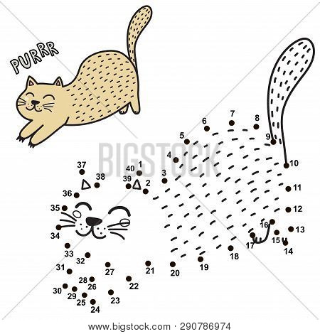 Connect The Dots And Draw A Cute Purring Cat. Numbers Game For Children. Vector Illustration