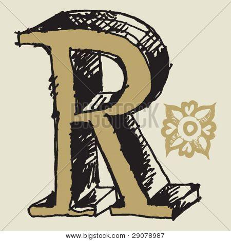 Naive 3d Alphabet, Hand gezeichneten Buchstaben r