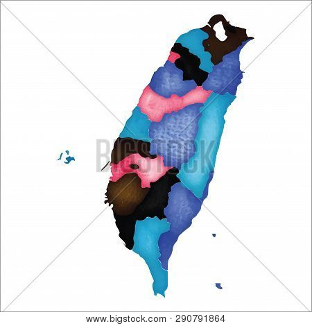 Map Of Taiwan. Colourful Watercolor Country Map. Divine Vector Illustration.