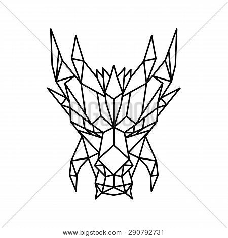Low polygon style illustration of a head of a dragon, a serpent-like legendary creature that appears in folklore of many cultures viewed from front on isolated background in black and white. poster
