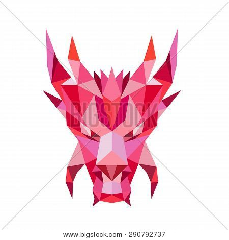 Low polygon style illustration of a head of a mythical dragon,serpent-like legendary creature that appears in  folklore of many cultures viewed from front on isolated white background. poster