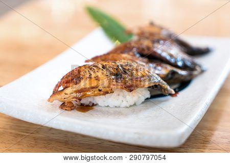 Close Up Of Unagi Sushi Set Japan Eel. Japan Food Concept In Japanese Food Restaurant.
