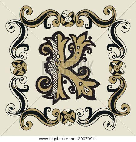 naive baroque alphabet, hand drawn letter K