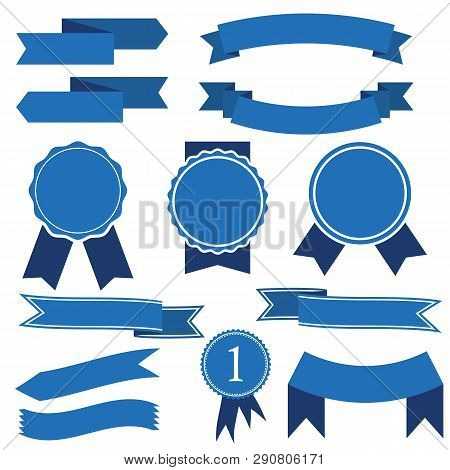 set blue ribbon vector photo free trial bigstock set blue ribbon vector photo free