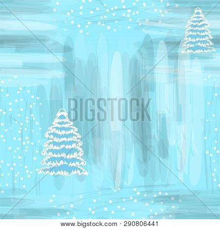 Seamless Sketch Pattern With Abstract Snowfflake And Firtree On Grunge Striped Backdrop In White,blu