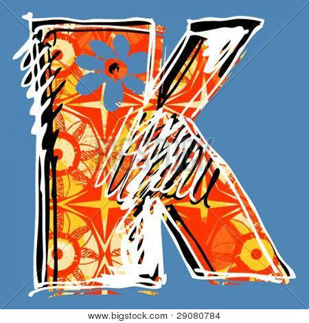 graffiti alphabet, hand drawn letter K
