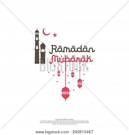 Ramadan Mubarak Vector Typography For Islamic Design Celebration. Ramadan Kareem Or Eid Greeting Con