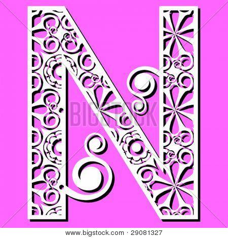 openwork alphabet, letter N