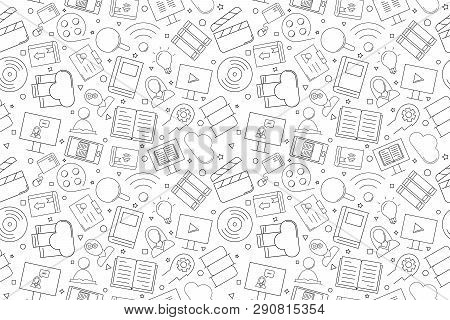 Vector Library And Online Library Pattern. Library And Online Library Seamless Background. Vector Il