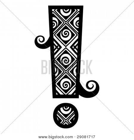 openwork alphabet, note of exclamation