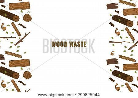 Template For Text. Line Style Icon Collection - Color Wood Waste Elements. Symbols Collection -  Saw