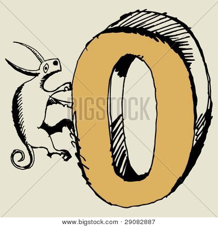 grotesque ABC, scribble letter O