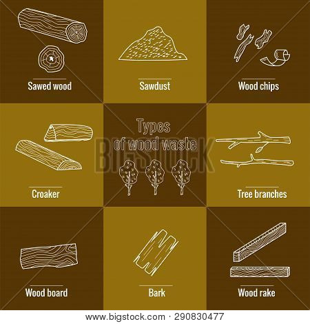 Line Style Icon Collection - Wood Waste Elements. Symbols Collection -  Sawed Wood, Sawdust, Wood Ch