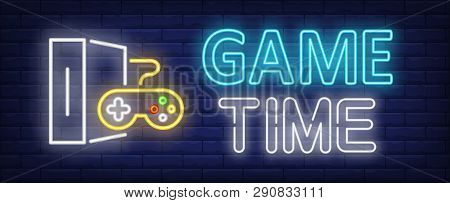 Game Time Neon Text With Game Console And Controller. Video Game And Entertainment Design. Night Bri