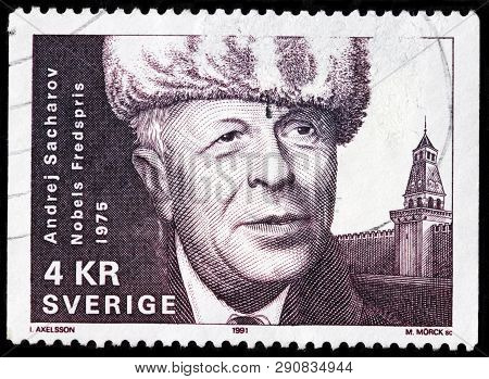 Luga, Russia - February 17, 2019: A Stamp Printed By Sweden Shows Andrei Sakharov - Russian Nuclear