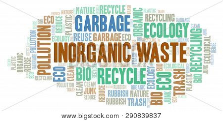 Inorganic Waste Word Cloud. Wordcloud Made With Text Only.