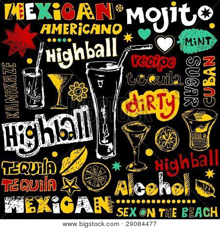 cocktail doodles, hand drawn design elements
