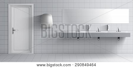 Public Lavatory Room Interior 3d Realistic Vector. Toilet Washing Basins Row With Metal Faucets On M