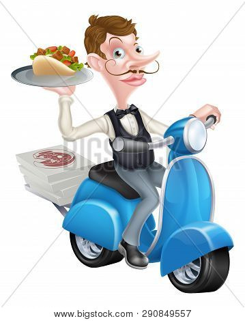 An Illustration Of A Cartoon Waiter On Scooter Moped Delivering Shawarma