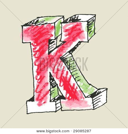 crayon alphabet, hand drawn letter K