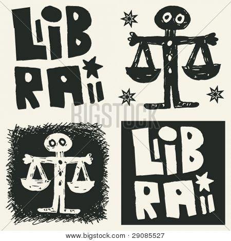naive abstract horoscope, hand drawn sign of the zodiac libra