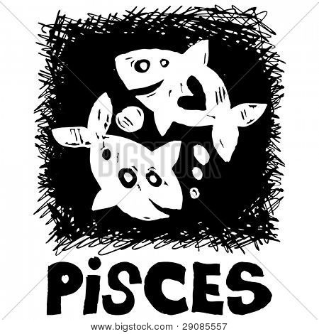 hand drawn sign of the zodiac pisces isolated on white background
