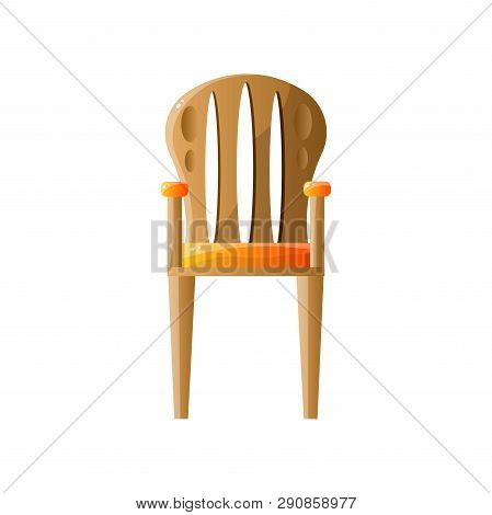 Classic Retro Wooden Chair With Backrest Isolated On White Background