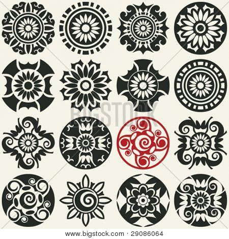 abstract floral icons, vector design elements for scrapbooking